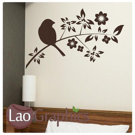 Black Bird On A Tree Branch Wall Sticker Home Decor Nature Art Decals-LaoGraphics