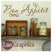 Bon Appetit Kitchen Quote Wall Stickers Home Decor Art Decal Transfers-LaoGraphics
