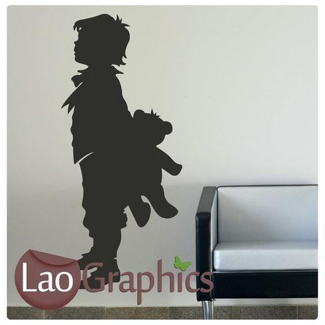 Boy & Teddy Bear Childrens Nursery Wall Stickers Home Decor Art Decals-LaoGraphics