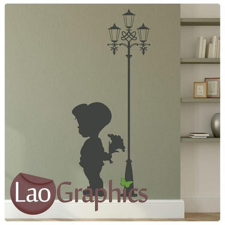 Boy With Flowers & Lampost Nursery Wall Stickers Home Decor Childrens Art Decals-LaoGraphics