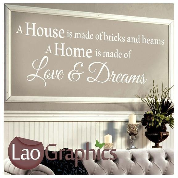 Bricks Beams Home Quote Wall Stickers Decor Large Art Decals LaoGraphics