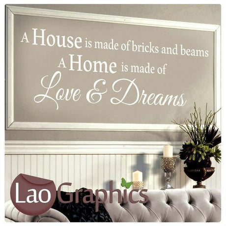 Bricks & Beams Home Quote Wall Stickers Home Decor Large Art Decals-LaoGraphics