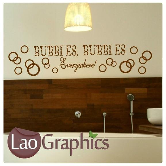 Bubbles Everywhere Bathroom Quote Wall Sticker Home Decor Art Decals-LaoGraphics