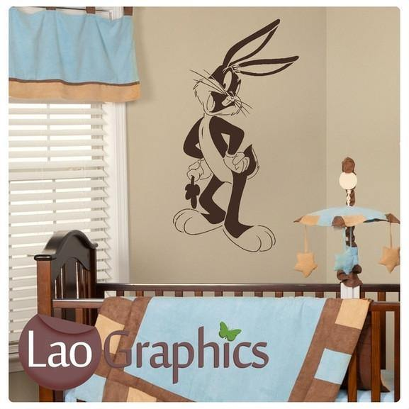 Bugs Bunny Nursery Wall Stickers Home Decor Childrens Cute Art Decals LaoGraphics