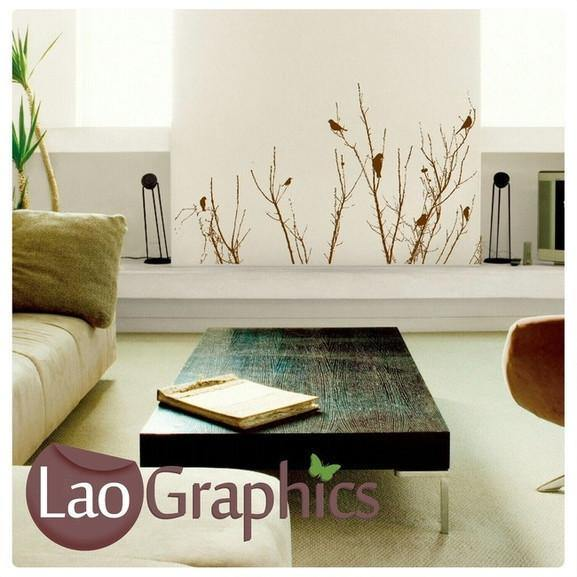 Bush Branches U0026 Birds Wall Stickers Home Decor Nature Art Decals UK  LaoGraphics
