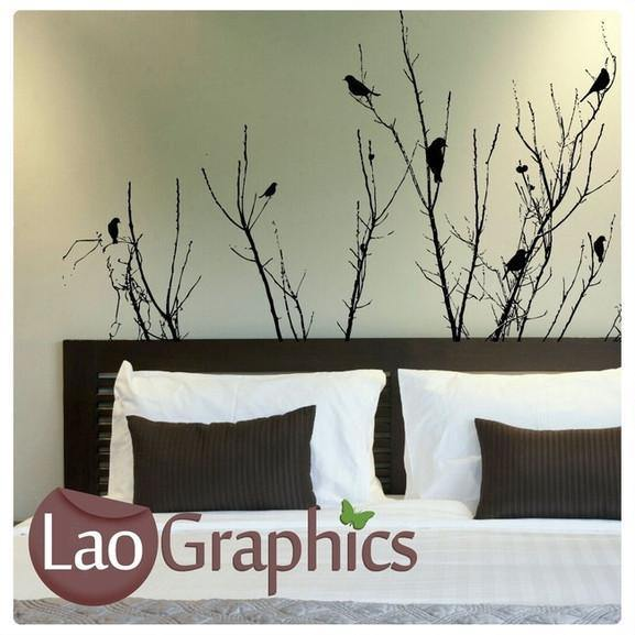 bush branches & birds wall stickers home decor nature art decals uk