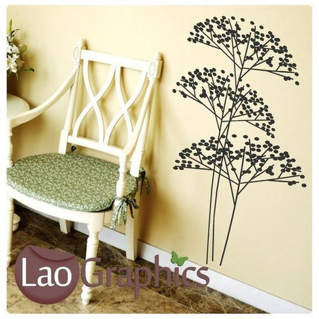 Bush Flower Modern Interior Wall Stickers Home Decor Art Decals-LaoGraphics