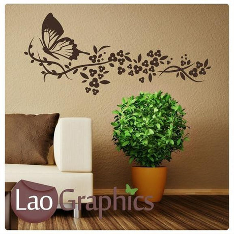 Buttefly & Flowers Modern Interior Wall Stickers Home Decor Art Decals-LaoGraphics