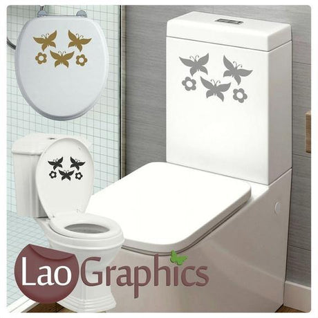 Butterflies & Flowers Bathroom Toilet Stickers Home Decor Art Decals-LaoGraphics