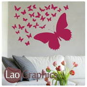 Butterflies Kit Girls Bedroom Wall Stickers Home Decor Art Decals-LaoGraphics