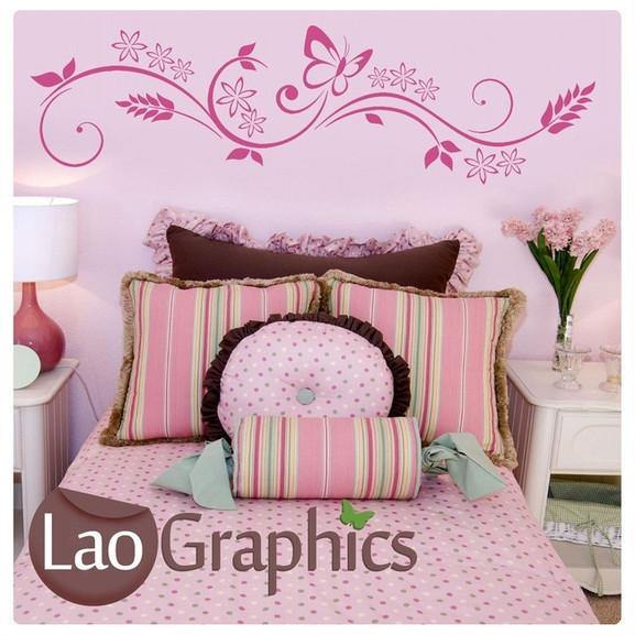 Butterfly & Floral Pattern Interior Wall Stickers Home Decor Art Decal-LaoGraphics