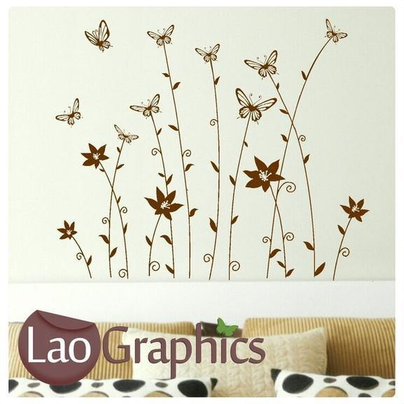 Butterfly Headed Flowers Modern Interior Wall Stickers Home Decor Art Decals-LaoGraphics