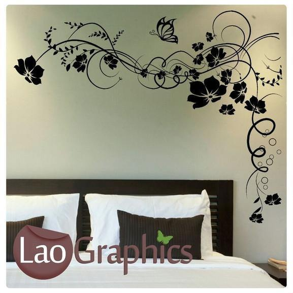 Butterfly Vines Large Modern Wall Stickers Home Decor Art Decals LaoGraphics