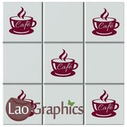 Cafe Cup Kitchen Tile Transfers Home Decor Stick On Art Decals UK-LaoGraphics