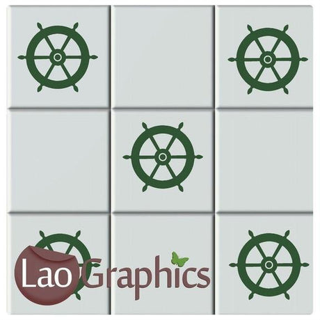 Captains Wheel Bathroom Tile Transfers Home Decor Sailing Art Decals-LaoGraphics