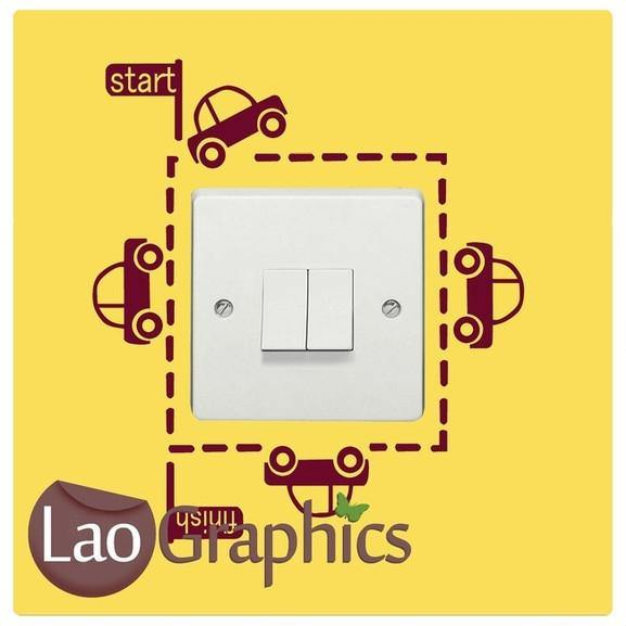 Cars Light Switch Vehicle Transport Wall Stickers Home Decor Art Decals-LaoGraphics