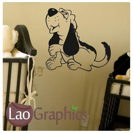 Cartoon Bloodhound Dog Canine Puppy Wall Sticker Home Decor Art Decals-LaoGraphics