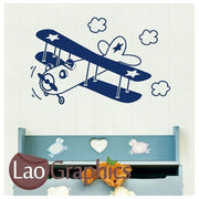 Cartoon Crop Duster Aviation & Flight Wall Stickers Home Decor Art Decals-LaoGraphics