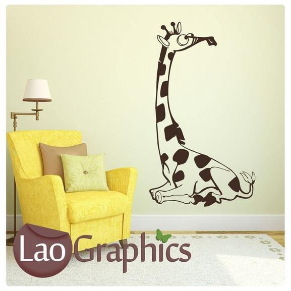 Cartoon Giraffe Nursery Wall Stickers Home Decor Childrens Art Decals-LaoGraphics