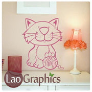 Cartoon Kitten & Ball House Cats Wall Stickers Home Decor Art Decals-LaoGraphics