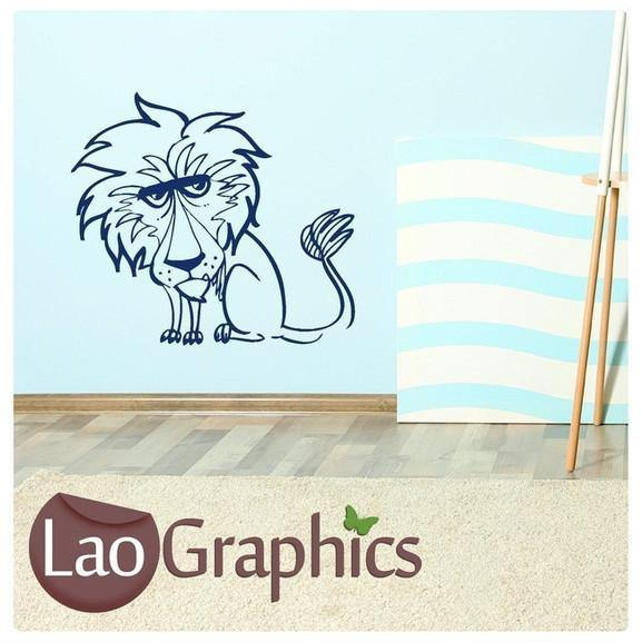 Cartoon Lion Wild Animals Large Kitty Wall Stickers Home Decor Art Decals-LaoGraphics