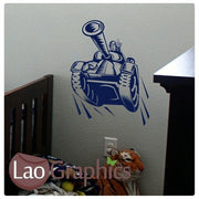 Cartoon Tank Military & Army Wall Stickers Home Decor Boys Art Decals-LaoGraphics