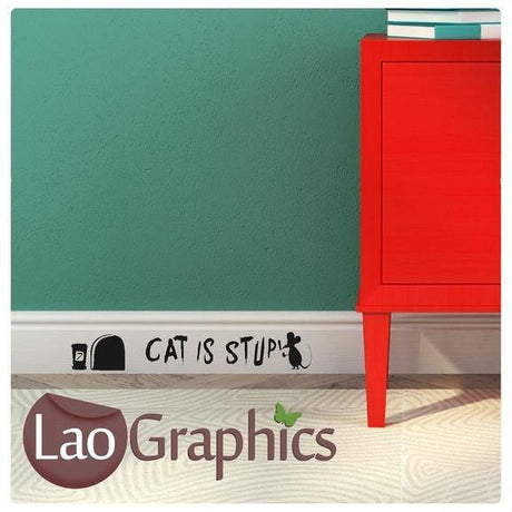 Cat is Stupid Mouse Set Home Decor Skirting Wall Stickers Art Decals-LaoGraphics