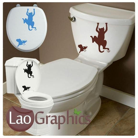 Cat & Mouse Bathroom Toilet Stickers Home Decor Art Decal Stickers UK-LaoGraphics