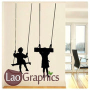 Children on Swings Nursery Wall Stickers Home Decor Art Decals-LaoGraphics