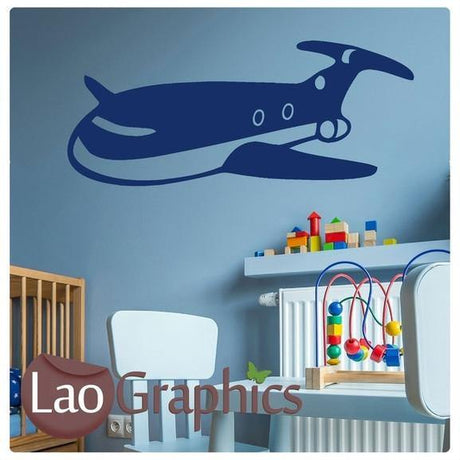 Childrens Cartoon Aeroplane Wall Sticker Home Decor Childs Bedroom Art Decals-LaoGraphics