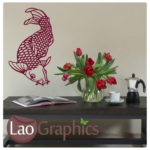 Chinese Koi Carp Boys Aquatic Wall Stickers Home Decor Fish Art Decals-LaoGraphics