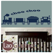 Choo Choo Train Nursery Wall Stickers Home Decor Childrens Art Decals-LaoGraphics