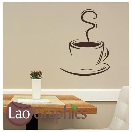 Coffee Cup Large Kitchen Wall Stickers Home Decor Art Decal Transfers-LaoGraphics