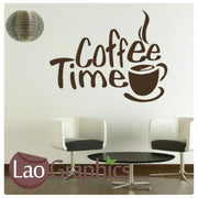 Coffee Time Large Kitchen Quote Wall Stickers Home Decor Art Decals UK-LaoGraphics