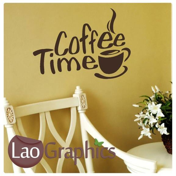 Coffee Time Large Kitchen Quote Wall Stickers Home Decor Art Decals ...