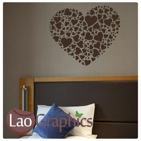 Collage of Love Hearts Girls Room Wall Stickers Home Decor Pretty Art Decals-LaoGraphics