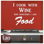 Cook With Wine Kitchen Quote Wall Stickers Home Decor Art Decals-LaoGraphics