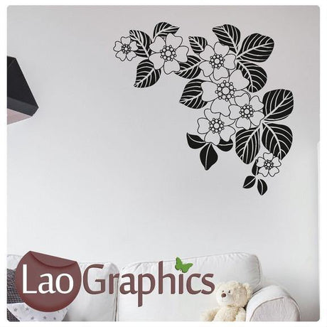 Corner Flower #11 Large Modern Wall Stickers Home Decor Art Decals UK-LaoGraphics