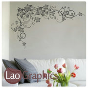 Corner Flower Large Modern Wall Stickers Home Decor Vinyl Art Decals-LaoGraphics