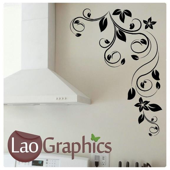 corner flowers #5 large modern wall stickers home decor art decals