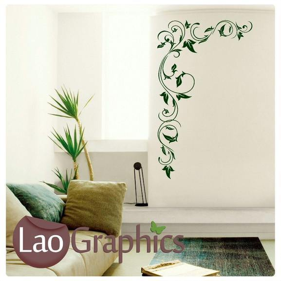 corner flowers #6 large modern wall stickers home decor art decals