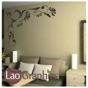 Corner Flowers #7 Large Modern Wall Stickers Home Decor Art Decals UK-LaoGraphics