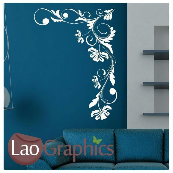 corner flowers #7 large modern wall stickers home decor art decals