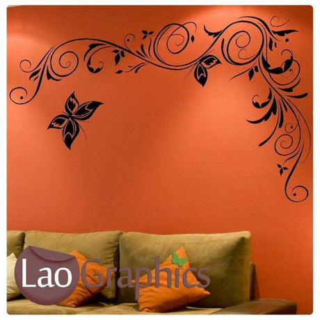 Corner Flowers #8 Large Modern Wall Stickers Home Decor Art Decals UK-LaoGraphics