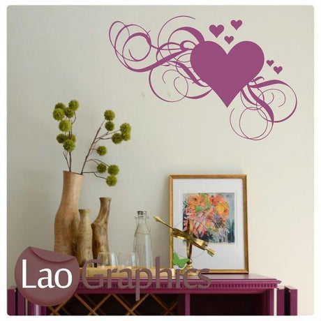 Corner Love Heart Girls Room Wall Stickers Home Decor Pretty Art Decals-LaoGraphics