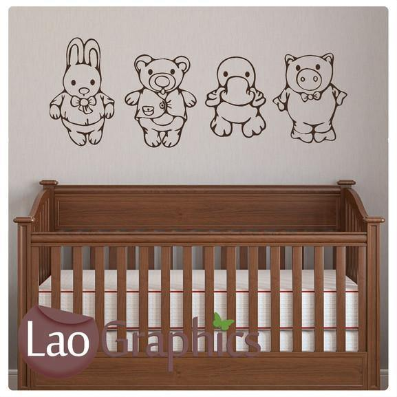 Cuddly Toys Nursery Wall Stickers Home Decor Childrens Cute Art Decals-LaoGraphics