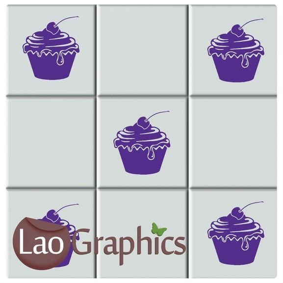 Cupcake Kitchen Tile Transfers Home Decor Art Decals Vinyl Stickers-LaoGraphics
