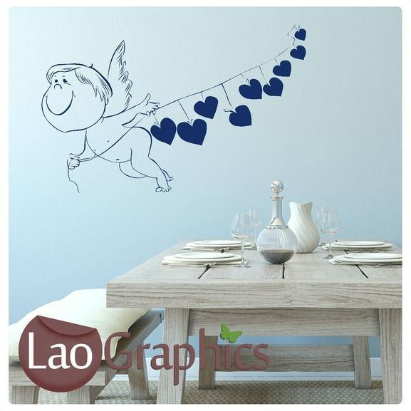 Cupid Girls Bedroom Wall Stickers Home Decor Vinyl Art Decal Transfers-LaoGraphics
