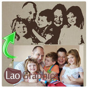 Custom Family Photo Conversion Nursery Wall Stickers Home Decor Childrens Art Decals-LaoGraphics
