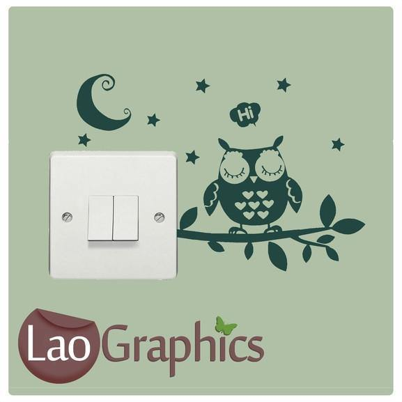Cute Owl Light Switch Art Decal Home Decor Vinyl Wall Sticker Transfer-LaoGraphics
